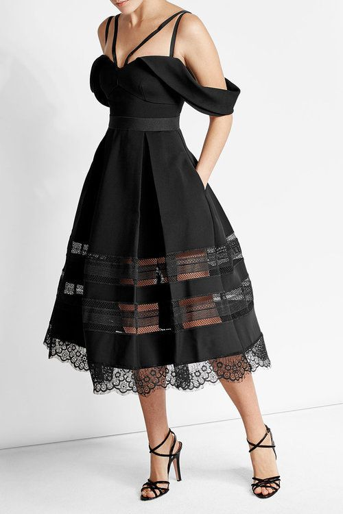 Self-Portrait Draped Crepe Dress with Lace Detail