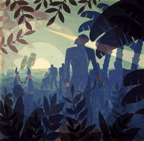 """This selective piece of art """"Into to Bondage""""was created by the Harlem Renaissance artist Aaron Douglas in 1936. Aaron Douglas portrayed slavery as a reminder to African Americans and where they started from."""