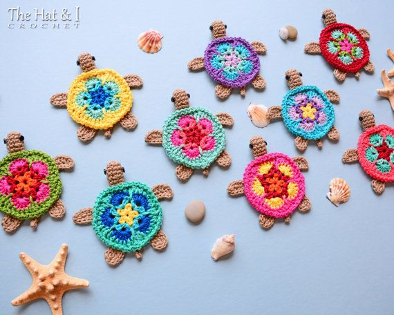 CROCHET PATTERN - Tiny Turtles - crochet turtle pattern, honu turtle motif, turtle applique, turtle ornament pattern - Instant PDF Download