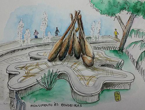 """Não! Não são pinos de boliche caindo! O monumento representa """"bilros"""", pequenas peças de madeira habilmente manuseadas pela rendeiras para fazer a renda de bilro. Este é o Monumento às Rendeiras qu..."""