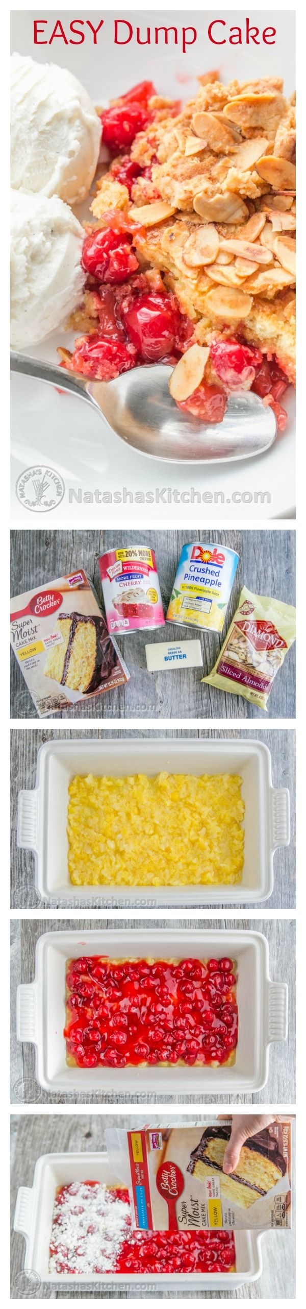 This Cherry Pineapple Dump Cake has just 5 ingredients. So good with ice cream and Ridiculously EASY! @natashaskitchen
