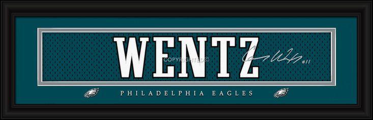 Carson Wentz Philadelphia Eagles Player Signature Stitched Jersey Framed Print