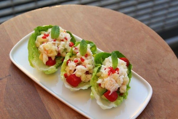 easy crab salaa   Crab salad served on lettuce gem leaves. This is a good way to serve ...