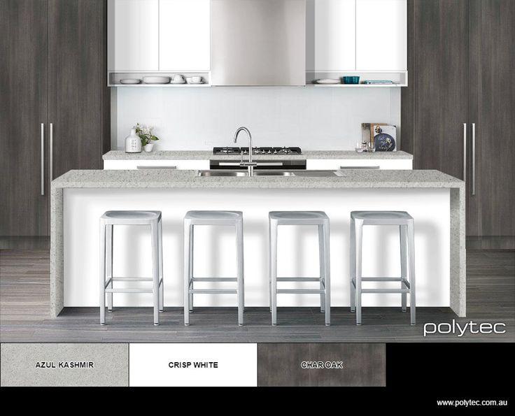 Cool grey silver tones of polytec Char Oak mixed with Crisp White LEGATO super matt