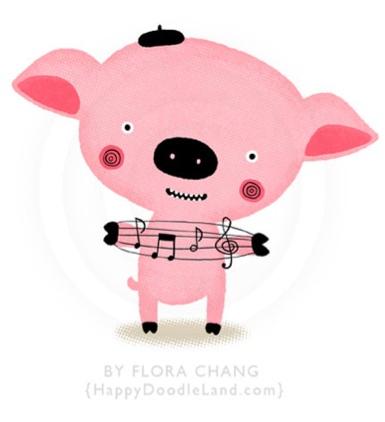 Music Piggy print by Flora Chang | Happy Doodle Land