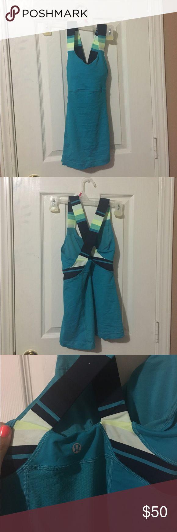 NWOT blue and green lulu lemon shirt Blue, green, and yellow lulu lemon shirt NEW WITH OUT TAG lululemon athletica Tops