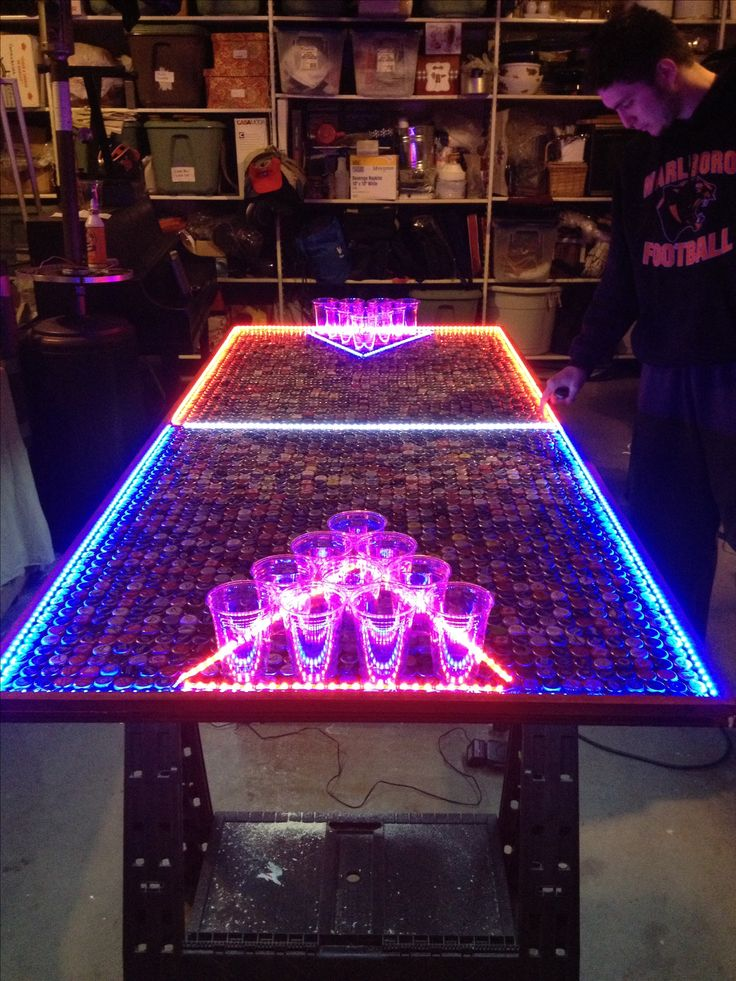 Made my own beer pong table made of beer caps