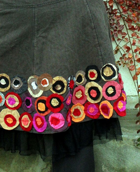 Fall colors appliqued recycled skirt hippie boho by jamfashion