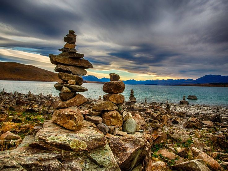 8. Rich's shot of rock cairns on the shores of a New Zealand lake.