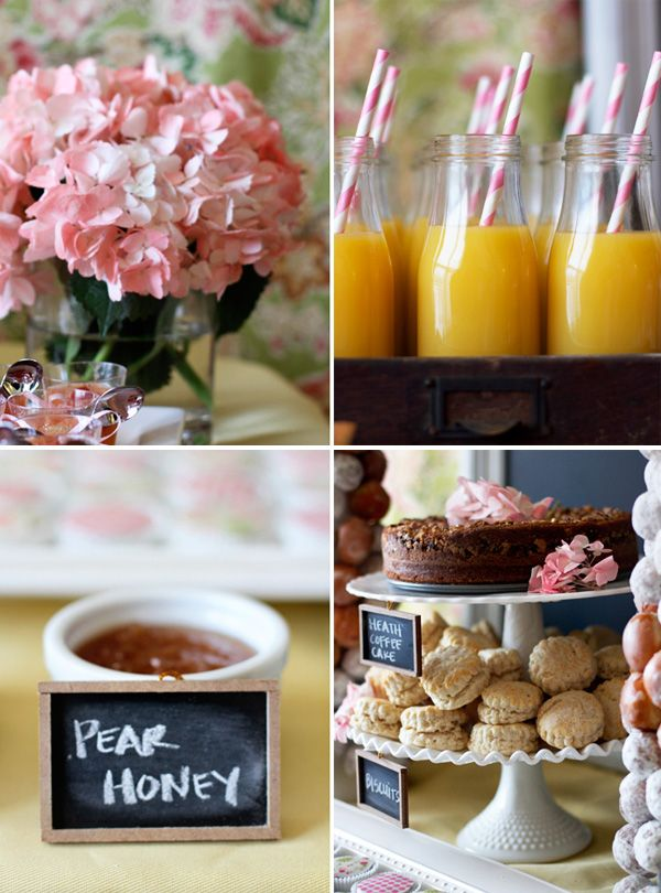 love the chalkboard labelsBrunches Ideas, Cake Stands, Baby Shower Brunches, Brunches Parts, Coffee Cake, Bridal Brunches, Orange Juice, Coffe Cake, Baby Shower