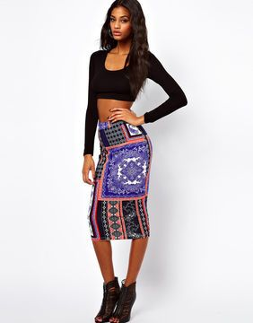 shopstyle.com: ASOS Pencil Skirt in Scarf Print