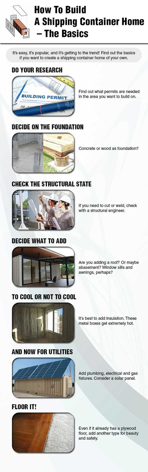 How to Build a Container Home Ingographic |12 Cool Container Homes | How To Build A Beautiful House From The Container - Awesome DIY Ideas and Design You Must See! | http://pioneersettler.com/cool-container-homes/