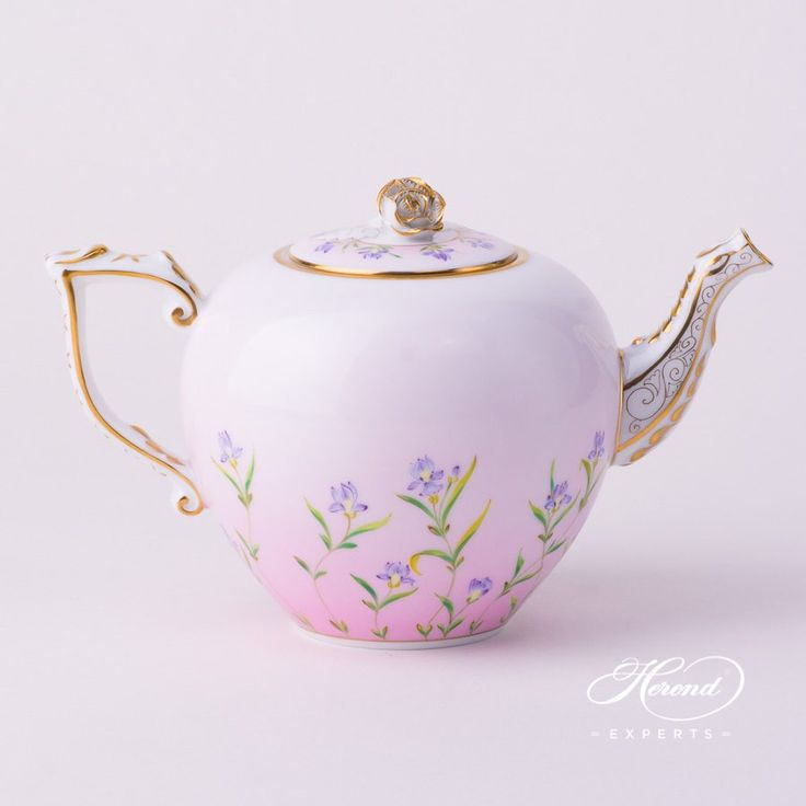 Herend porcelain Tea Set with Rose Knob – Herend Iris Flower – Pink pattern. 1 pc – Tea Pot with Rose Knob – vol 8.0 dl (27 OZ) 20606-0-09 IRIS-P Tea, Coffee, Espresso Sets and Dinner Services are available.