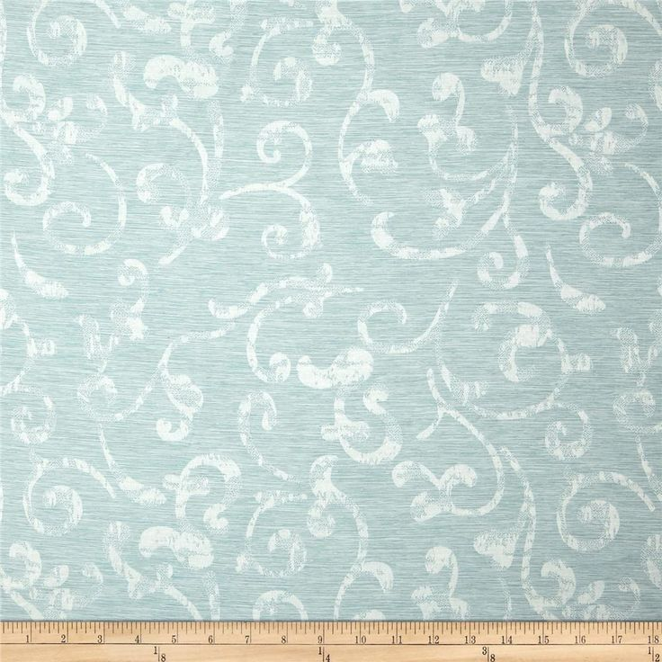 Eroica In Motion Damask Jacquard Mist from @fabricdotcom  Refresh, modernize and update your home decor. This medium weight, buttery soft (has a very soft brushed flannel-like backing) damask jacquard fabric is perfect for window treatments (draperies, curtains, swags), accent pillows, table top, light upholstery and covering headboards. Colors include ivory and light blue.