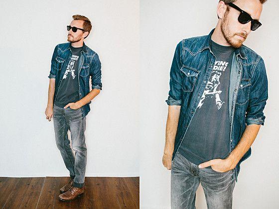 jacket.: Boots Seasons, Denim On Denim, Denim Westerns, July 18, Ae Denim, Men'S Fashion, American Eagles, Eagles Ae, Westerns Shirts