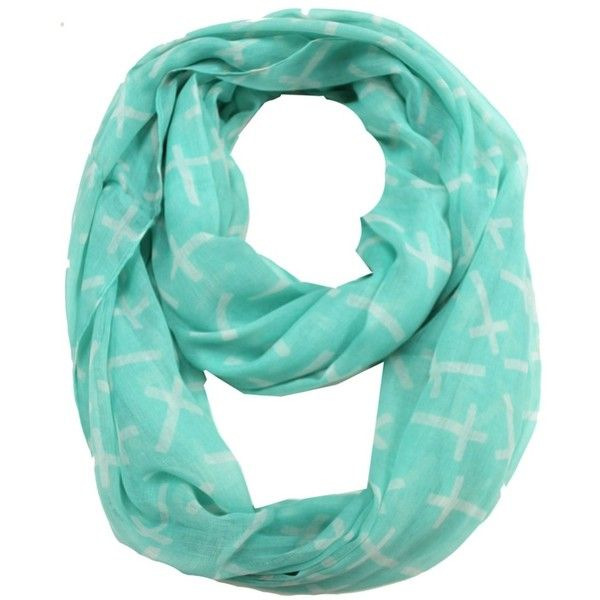 ModestlyChic Apparel Mint Cross Print Infinitiy Scarf (€7,95) ❤ liked on Polyvore featuring accessories, scarves, blue, patterned scarves, cross scarves, mint scarves, blue shawl e mint green scarves