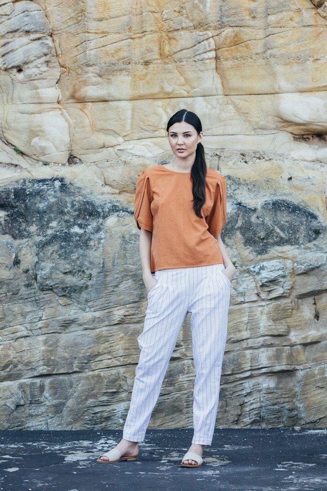 Traveller Pants - White with peach strips | Carlieballard