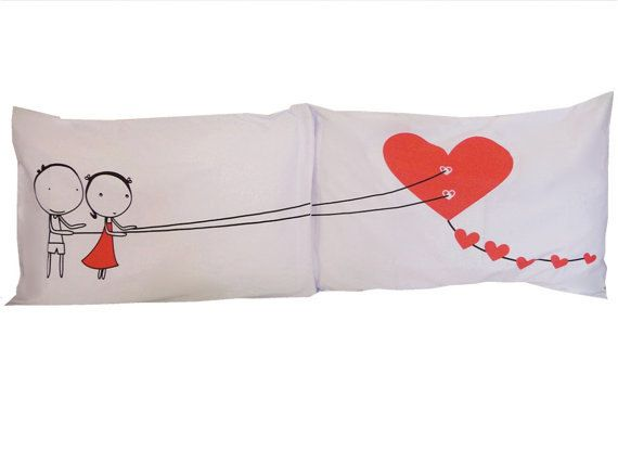 Couple Pillow Cases Heart Kite set - for his & her Bedroom Wedding Gift Pillow, Anniversary Gift, engagement present, Drawing Pillow