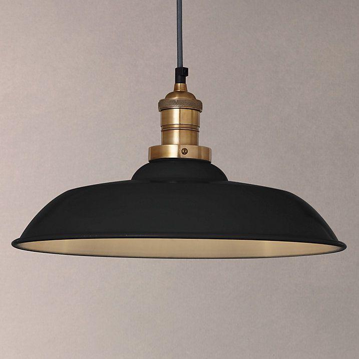 Buy John Lewis Croft Collection Clyde Brass Trim Ceiling Pendant Light, Black Online at johnlewis.com