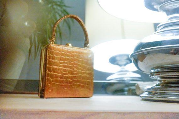 Vintage gold petite alligator handbag. by VintageVanillaShop