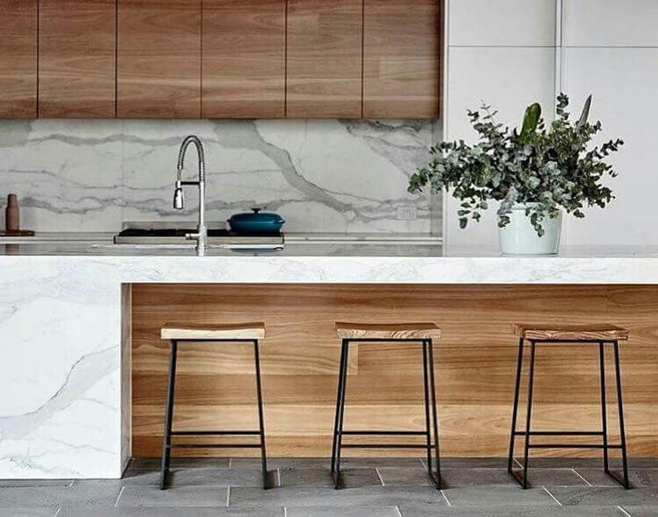 Contrast of timber under the counter.