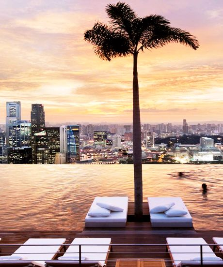Marina Bay Sands Hotel, Singapore // World's largest rooftop pool atop a five-star hotel with an unbeatable view of the Singapore skyline