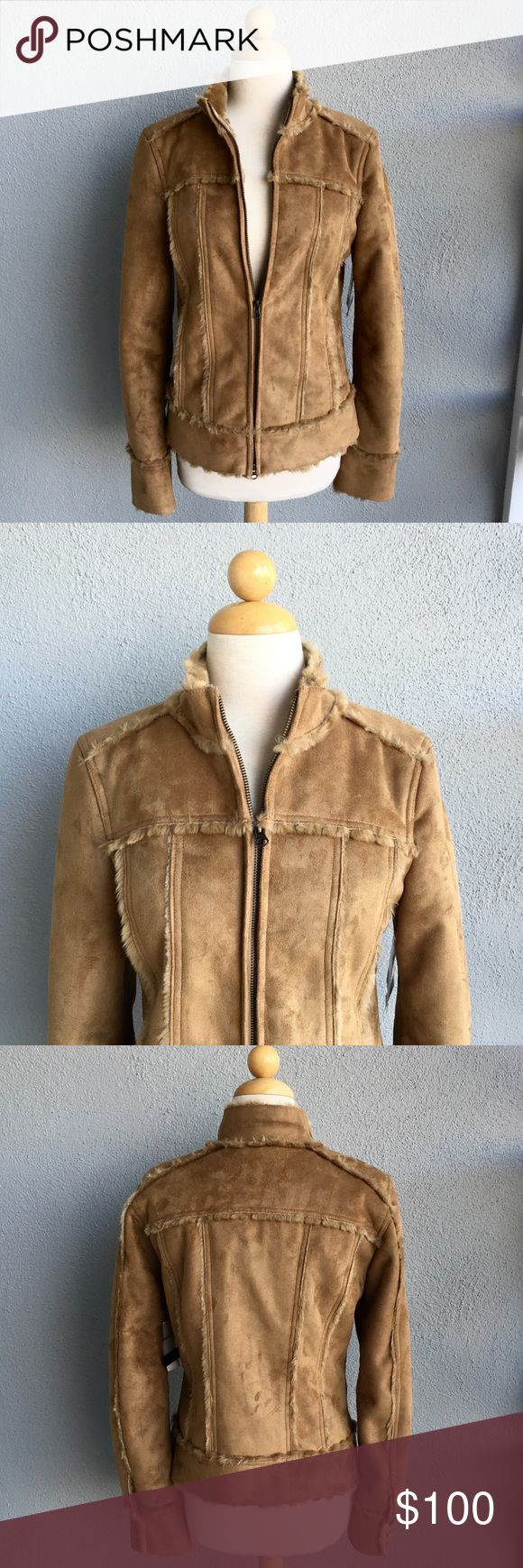 Calvin Klein Vegan Leather Faux Fur Jacket Sz M Calvin