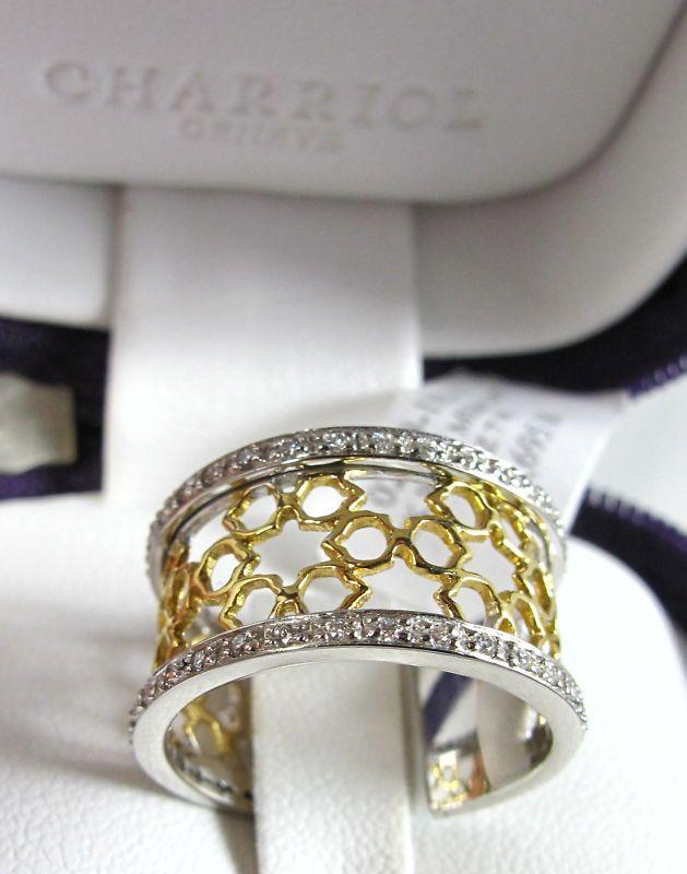 Charriol : Philippe Charriol Geneve 18K 2-tone Gold White Diamond Mesh Ring