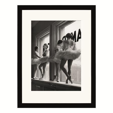 Classic Time Life Images - Ballerinas In Window, Art Print, 60 x 80cm Framed