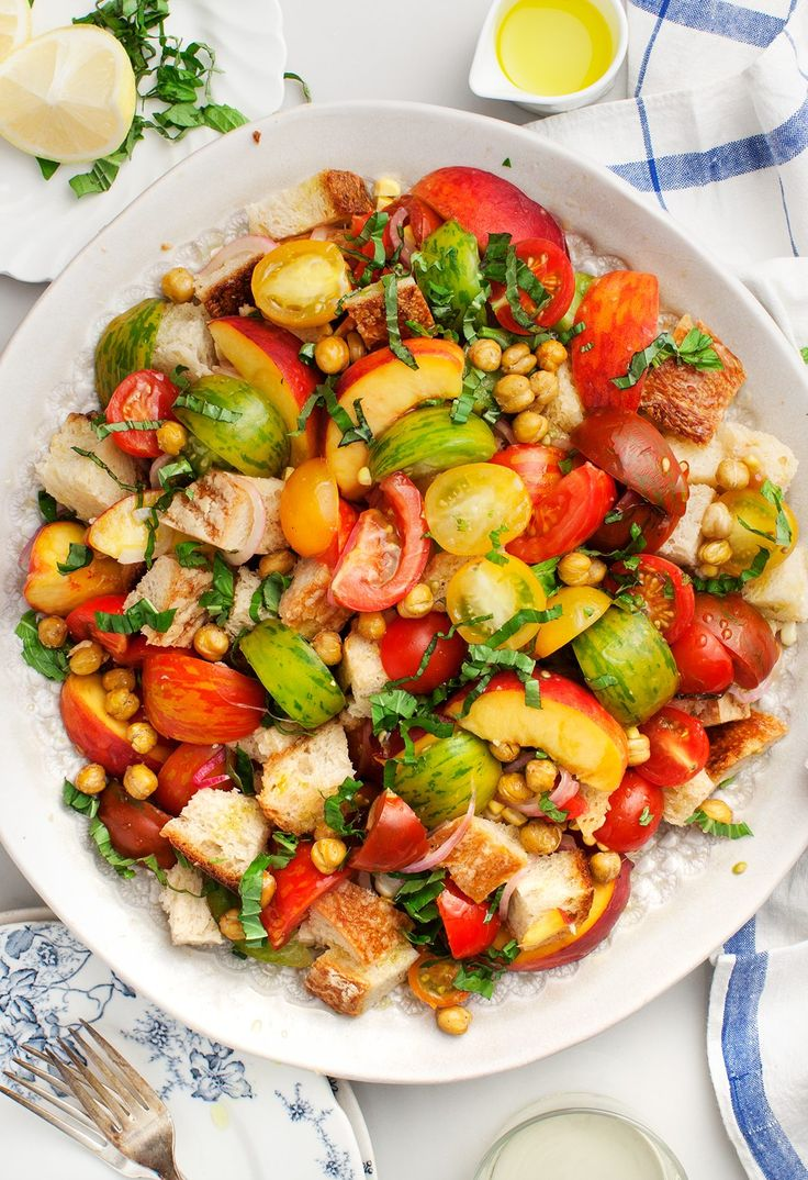 Tomato, Peach & Corn Panzanella Recipe - Love and Lemons
