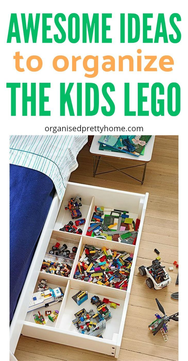 What is the best way to store the kids' Lego? Check out these lego storage & organization ideas and solutions. - Organised Pretty Home | DIY | Ikea | by color | under bed | containers | boxes | drawers | display table | bag | boys | for girls | dollar store | playroom | built | organizers #lego #legostorage #legotable #legominifigures #ikea #diy #playroom #playroomideas #organize #organizedhome #kids #kidsroom #organizetoys #organizelego