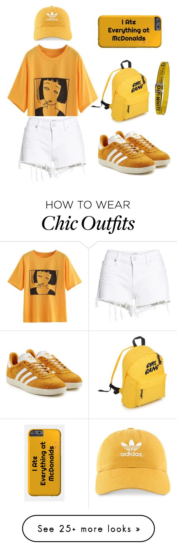 """""""Yellow Chic Look"""" by ssarynavith on Polyvore featuring Hudson Jeans, adidas Originals, adidas and Off-White"""