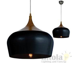 TELBIX-POLK-30-MEDIUM-1-LIGHT-CEILING-PENDANT-OAK-BLACK-MODERN-HANGING-SINGLE