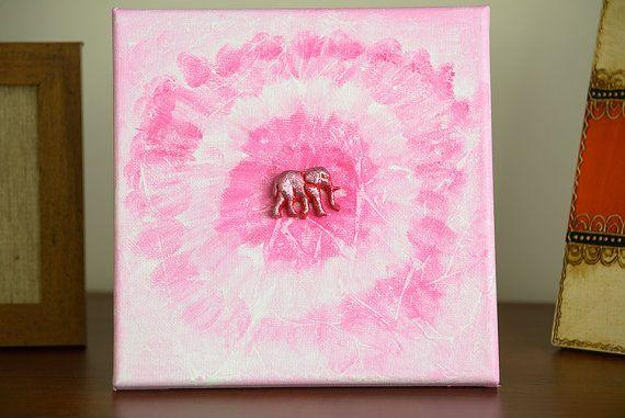 Original Acrylic Painting Happy Pink Elephant by CalmEnergy, zł65.00