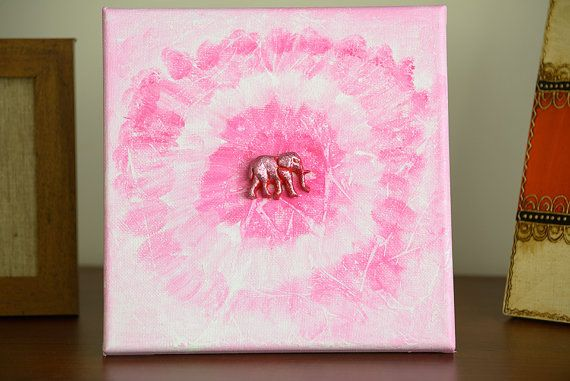 Original Acrylic Painting Happy Pink Elephant by CalmEnergy, zł65.00
