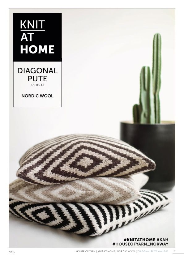 15-13 DIAGONAL PUTE | free knitting pattern | knitted pillow | knitted interior | knitting pattern