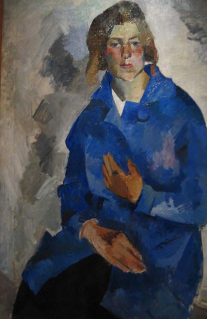 Portrait of Kira Alexeyeva, 1919 Robert Falk (1886-1958) State Tretyakov Gallery, Moscow  In 1916 in Crimea Falk met Kira Alexeyeva (1891-1977), the daughter of the famous theatre director and theoretician Konstantin Stanislavsky (1863-1938). Like Falk, Alexeyeva belonged to the new generation of avant-garde artists. They married in 1920 but separated in 1922. She later became director of the Stanislavsky Museum.