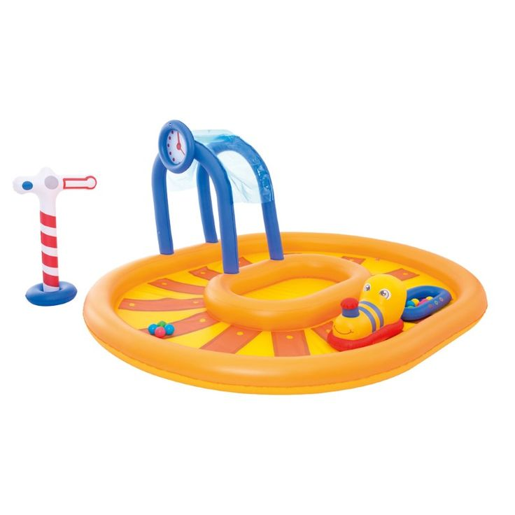 Bestway playcenter trein 285x224x119cm  Veiligheidsventielen  Stevig vinyl getest  De watersproeier kan op de tuinslang worden aangesloten  Rijd op de trein rijd met de kar of speel met de 10 bijgeleverde ballen  Reparatieplakker bijgesloten  Ontworpen watercapaciteit: 367 L (97 gallons.)  Laat zwembadwater weglopen met de gebruiksvriendelijke aftapkraan  Inhoud: een zwembad een opblaasbare trein-rider een opgeblazen kar met 10 speelballen een opblaasbaar treinsignaal een opblaasbare tunnel…