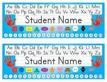 Desk Name Tags 8 5x11 In Microsoft Word Multicolor Editable