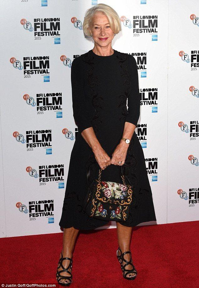 Helen Mirren keeps it chic in elegant black dress at Trumbo photocall