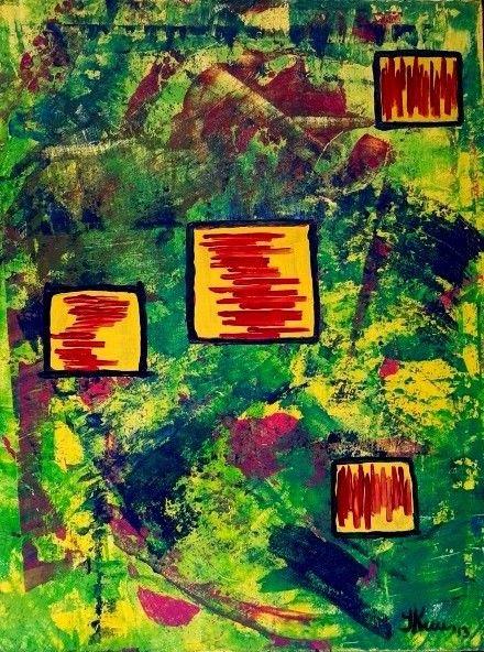 Green abstraction. By Ieva Krivma. Acrylic. 30x40 cm. Pressed cardboard