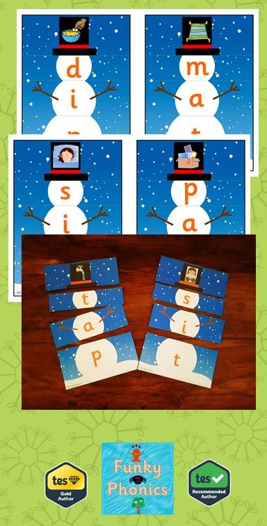 This pack contains 97 Snowman Puzzles for CVC words. Print onto card and/or laminate depending on preference. Cut along the dotted lines. Great festive activity for continuous provision or interventions.