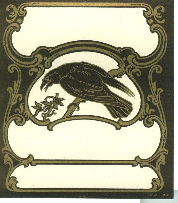 """""""Vintage Art Nouveau Raven Label"""" I know there is no mention of Ex Libris but it is a label and that is what book plates are. I like this one a lot and would be happy to use it. S"""