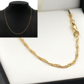 45cm Yellow Gold Singapore Rope Chain Necklace - GN-SN30