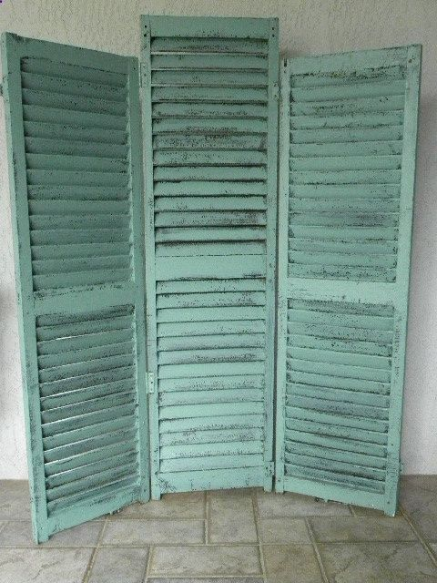 love these vintage shutters as a room divider                                                                                                                                                                                 More