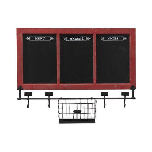 Decoración de Pared 3 tableros negros de madera y pizarra roja 78 x 96 cm DÍA DE MERCADO