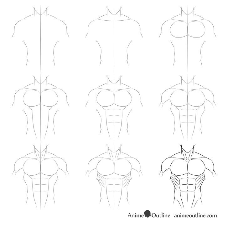 How To Draw Anime Muscular Male Body Step By Step Animeoutline Drawing Anime Bodies Anime Drawings Tutorials Body Drawing Tutorial