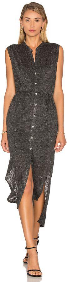 Heather Linen Maxi Shirt Dress