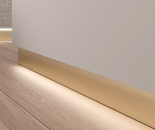 Baseboard / porcelain stoneware  / backlit TECHNAL GOLD RODAPIE ALEA rodapié retranqueado y luz.