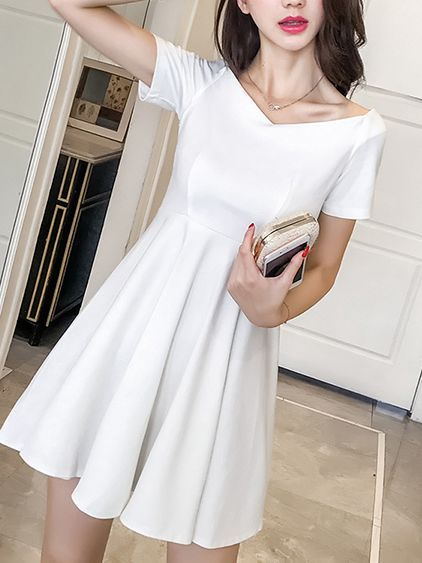 Hot Sale Korean V-neck Pure Lovely Dress_Short Sleeve Dress_Dresses_Wholesale clothing, Wholesale Clothes Online From China